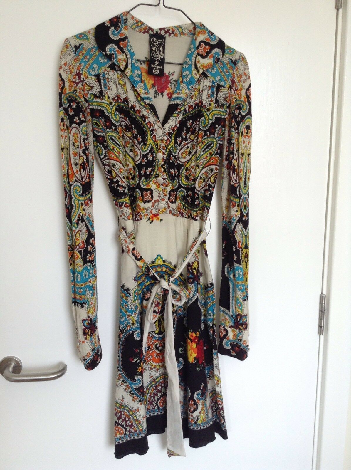 Taka Wear Fine Wool Crepe Ethnic Boho Floral Dress Size XS Or Uk 6 8