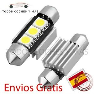 BOMBILLAS-LED-CANBUS-FESTOON-C5W-36MM-39MM-3-LED-SMD-5050-BLANCO-PURO-MATRICULA