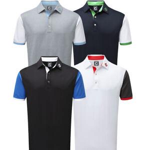 f832f1ca Details about FootJoy Mens FootJoy Stretch Pique Colour Block Contrast Trim  Golf Polo Shirt