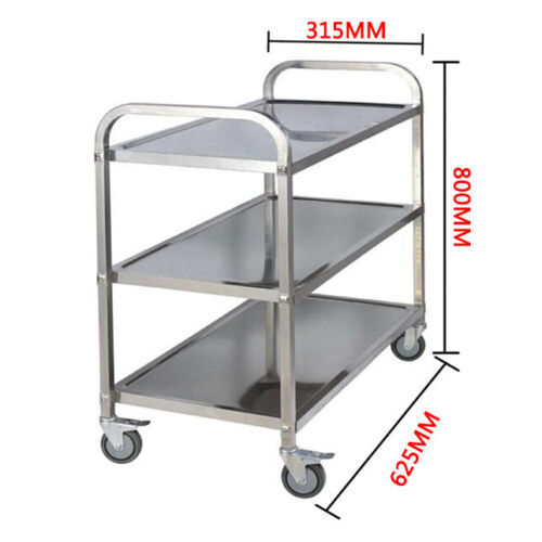 3 Tier Stainless Steel Trolley Cart Hotel Restaurant Serving Catering Train UK
