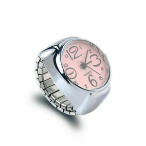 Fashion Dial Quartz Analogue Creative Steel Elastic Finger Ring Watch * PINK