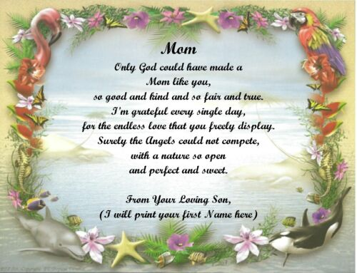 See all 12 choices Christmas//Birthday Gift 4 Mom from Son Personalized Poem #41