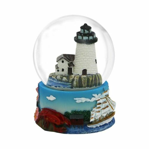 Lobster State Bird Robin Lighthouse Whale Connecticut Snow Globe 3.5 Inches