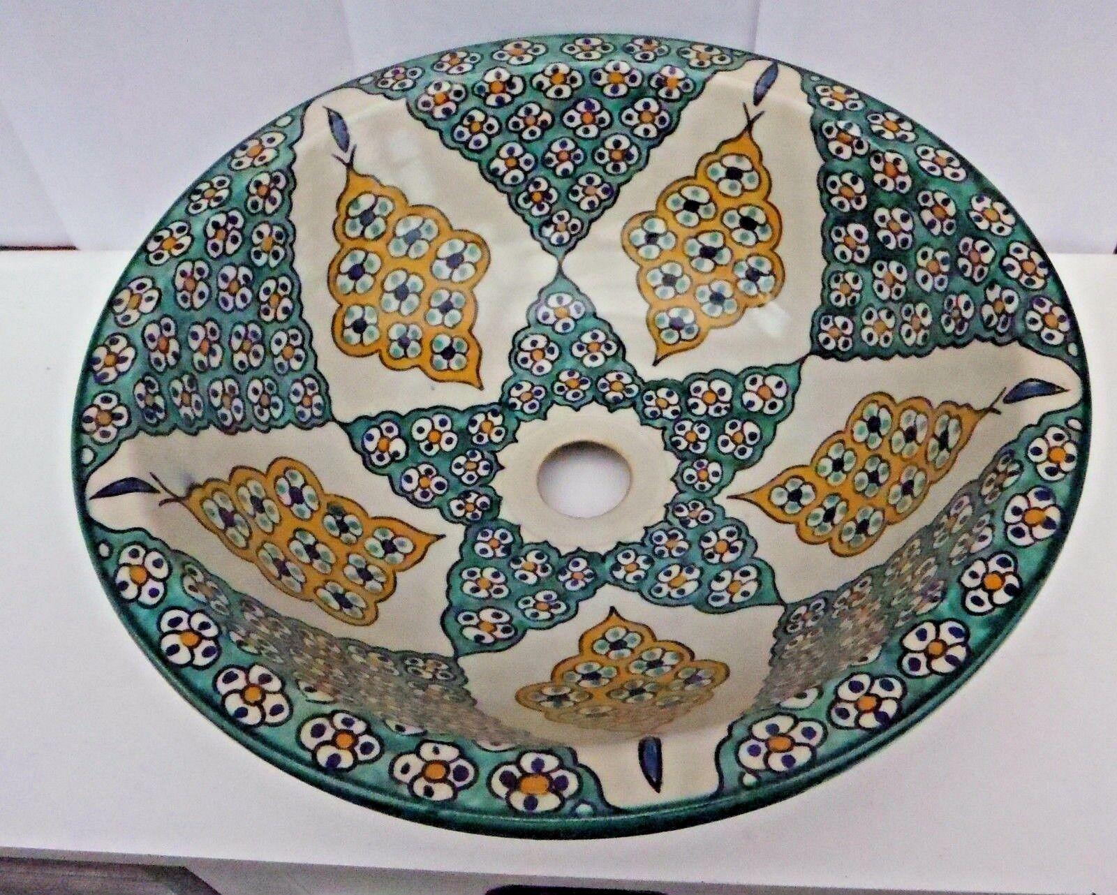 Peint à la main Multi couleur en céramique de lavabo  FES poterie 36 cm (F5)