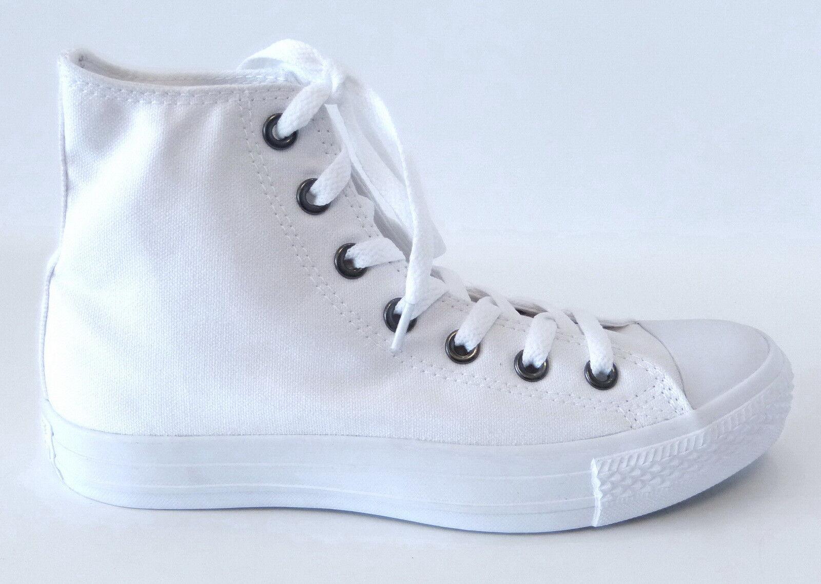 Zapatos promocionales para hombres y mujeres Converse Leinen Canvas Mid Sneaker 1U646 Chucks Hi Boot Schnürung weiß