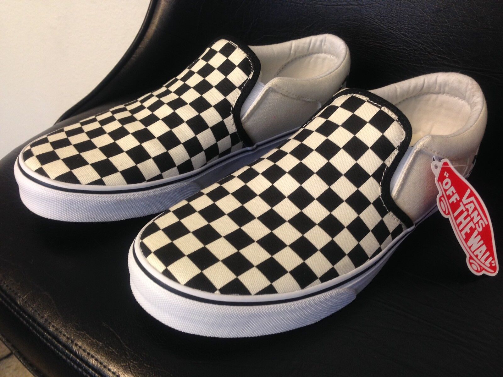 Vans CHECKERBOARD SLIP-ON Canvas BLACK/OFF Weiß CHECK  Canvas SLIP-ON Classic Schuhes  Uomo 10.5 479890