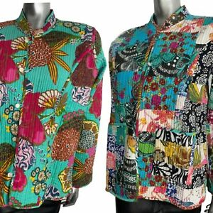 Handmade Quilted Jacket Reversible Colourful Bold Boho Indian Pink Mix XXL 18