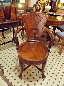 Antica sedia da scrivania girevole in mogano lavorata a ...