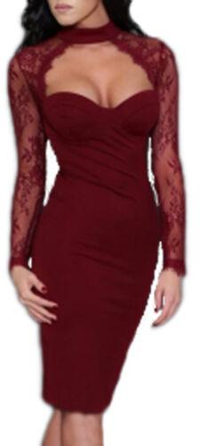 Vestito adente elegante maniche lunghe pizzo abito donna cerimonia