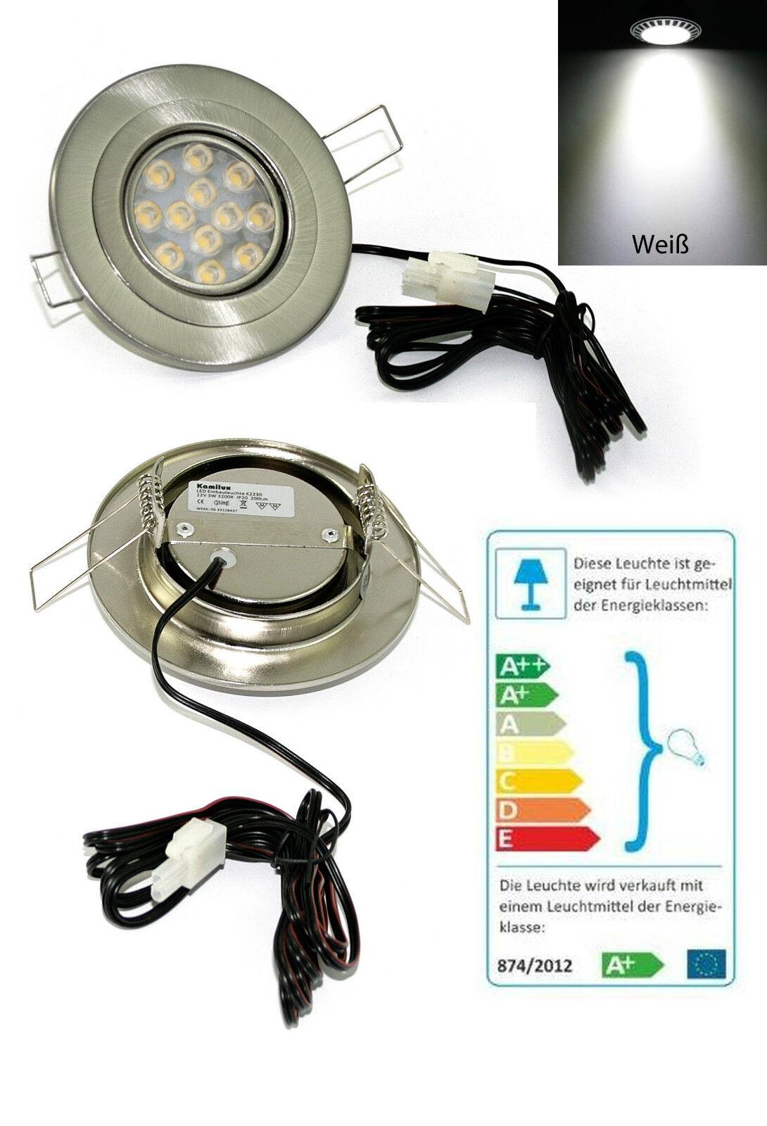 Flache LED Möbelspot 12V Eli 3W =25W Kaltweiss geringe ET 1,5m Kabel