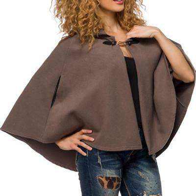 Poncho donna mantellina marrone look glamour cappa casual outfit nuovo uy 14425