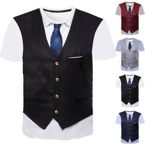 Casual-T-Shirt-Tops-Short-Sleeve-Top-Suit-Tie-Summer-T-Shirts-Funny-3D