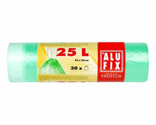 ALUFIX Müllsäcke Müllbeutel mit Zugband 25L HDPE 45x50 cm 12my grün transparent