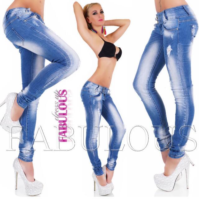 New Sexy Womens Skinny Leg Jeans Size 10 12 4 6 8 XS S M LHot Distressed Denim
