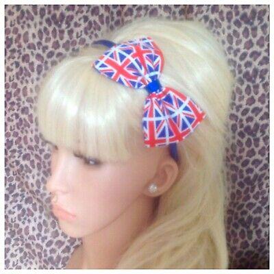 "NEW UK BRITISH UNION JACK FLAG PRINT FABRIC 5/"" SIDE BOW ALICE HAIR HEAD BAND GB"