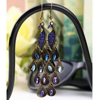 Women Bohemian Style Long Pendant Vintage Retro Blue Peacock Earrings hot FO
