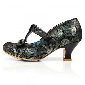nice shoes cheap price low cost Irregular Choice 'Lazy River' (U) Black Mid Heel Floral t-bar ...