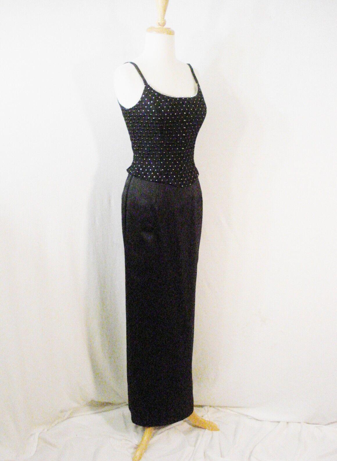 Gunne Sax Black Formal Evening Wear Dress Rhinest… - image 8