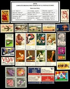 1974-COMPLETE-YEAR-SET-OF-30-MINT-NH-MNH-VINTAGE-U-S-POSTAGE-STAMPS