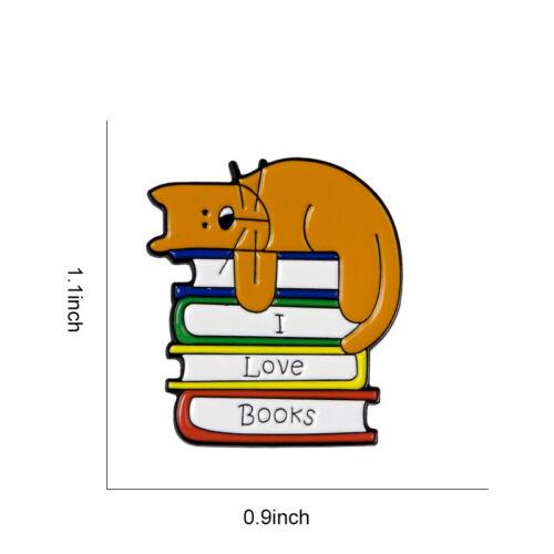 Enamel Cartoon Cat Book Brooch Pins Decoration Bag Clothes Corsage Badge VQ