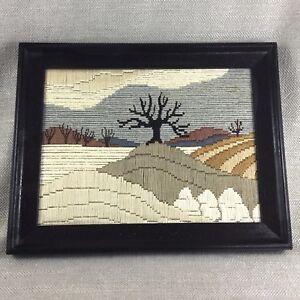 Vintage-Framed-Tapestry-Wool-Needlepoint-Art-Deco-Landscape-Embroidery-Panel