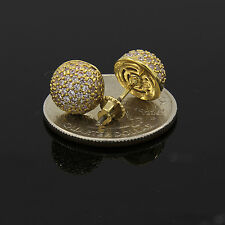 Men's Hip Hop Iced Out Cz Half Round Flat Screen Screw Back Stud Earring E86