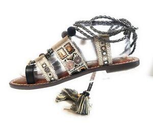 Sam-Edelman-Gretchen-Gray-Boho-Women-Gray-Gladiator-Ankle-Wrap-Sandals-Sz-7-5-M