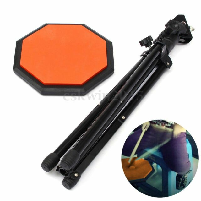 8'' Rubber Dumb Drum Practice Pads Stand And Drum Sticks Set Musical Black
