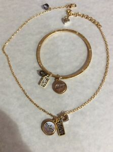 fed6dd7910a2b Details about BRIGHTON SISTER LOVE Gold silver Charm NECKLACE And Bangle  Bracelet Set