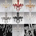 Crystal Chandelier Ceiling Lamp Pendent Light Glass Beads - 7 Color - 6 Heads
