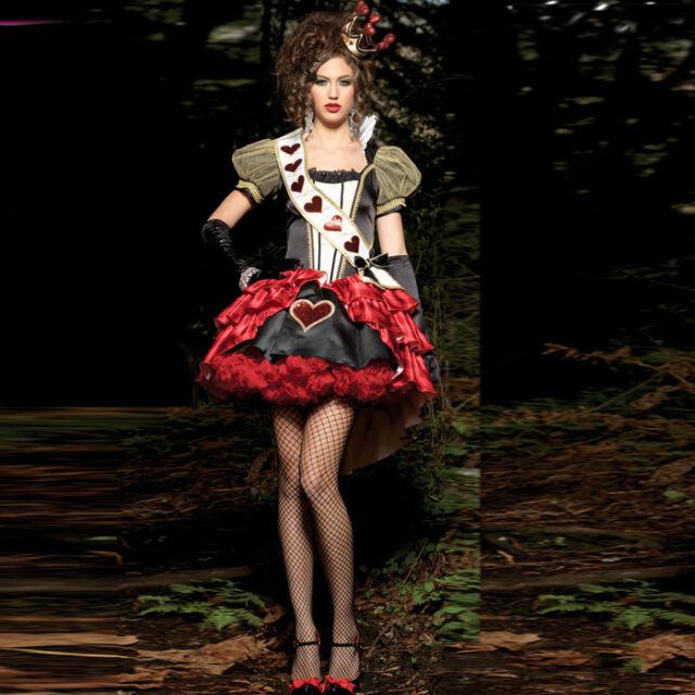 Queen of Hearts costume women adult Alice In Wonderland cosplay Sexy Mini dress