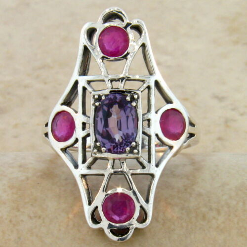 #238 GENUINE RUBY LAB ALEXANDRITE ANTIQUE DESIGN .925 SILVER RING SIZE 10