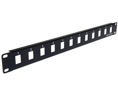 Blank 12 Port Patch Panel 1U Rack Mount Black for Keystone Jack PP3-308//12