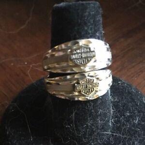 Details About Harley Davidson 10kt White Gold Band Set Rings 2 Ladies Wedding 785