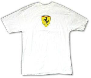Ferrari-Chest-Logo-Classic-SF-White-Adult-T-Shirt-Brand-New-Official-Merch-NWT