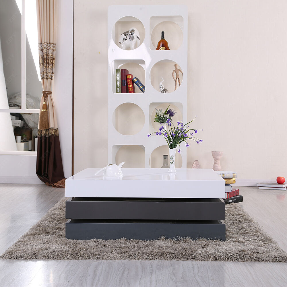 Coffee Table 3 Layers White High Gloss: HIGH GLOSS WHITE & GRAY SQUARE STORAGE ROTATABLE COFFEE