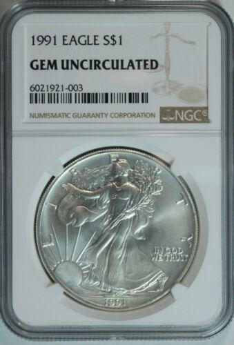 1991 American Silver Eagle Dollar $1 .999 Pure Certified NGC GEM BU