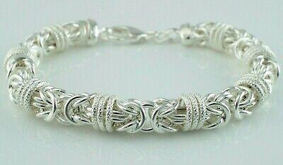 925 Sterling Silver Round Chunky Byzantine Bracelet 8.5 Inches