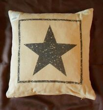 "Primitive Black Star Cotton Burlap Decorative Throw Pillow - 16"" x 16"""