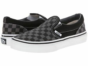91764394e5e3a5 Image is loading Vans-Classic-Slip-On-Checkerboard-Black-Pewter-Kids-