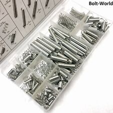 200 x SPRING SET / EXTENDED COMPRESSION EXPANSION TENSION SPRINGS ZINC IN TRAY