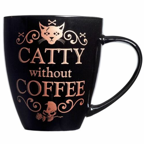 Alchemy Gothic Catty Without Coffee Cat Rose Gold Black Tea Mug Cup