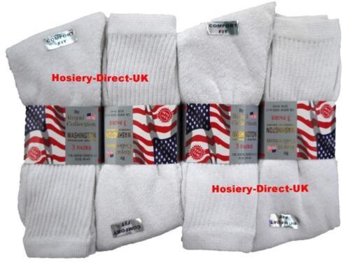3 para hombre Blanco Algodón Calcetines de trabajo enriquecidos Casual Sport UK 6-11