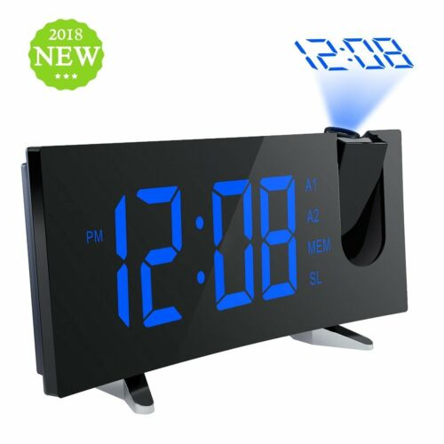 MPOW Projector Projection Digital Time Weather Snooze Alarm Clock w// LED light
