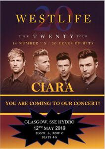 Westlife-The-Twenty-Tour-2019-Concert-Tickets-Ticket-Card-Birthday-Christmas-A5