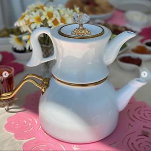 White Turkish Enamel & Porcelain Teapot Tea Kettle Tea Maker Double Container