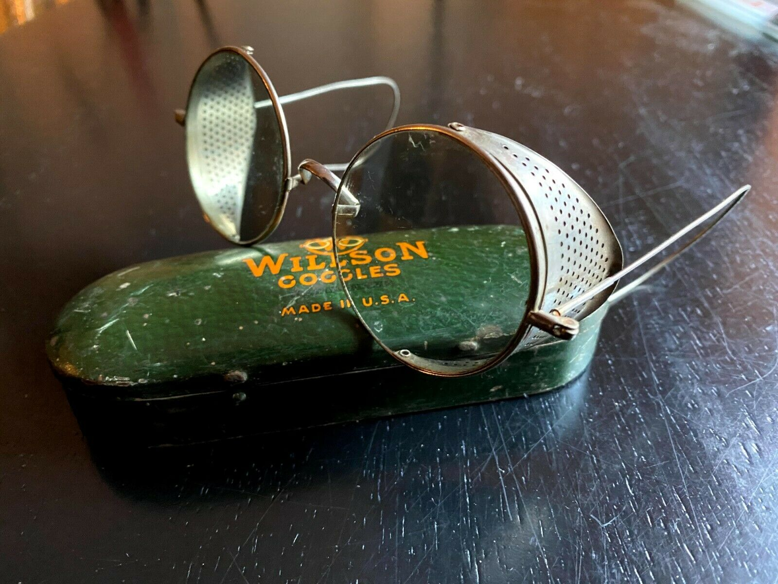 1920's Wilson Aviator-Driving Goggles Steam Punk Grey Tint With Case