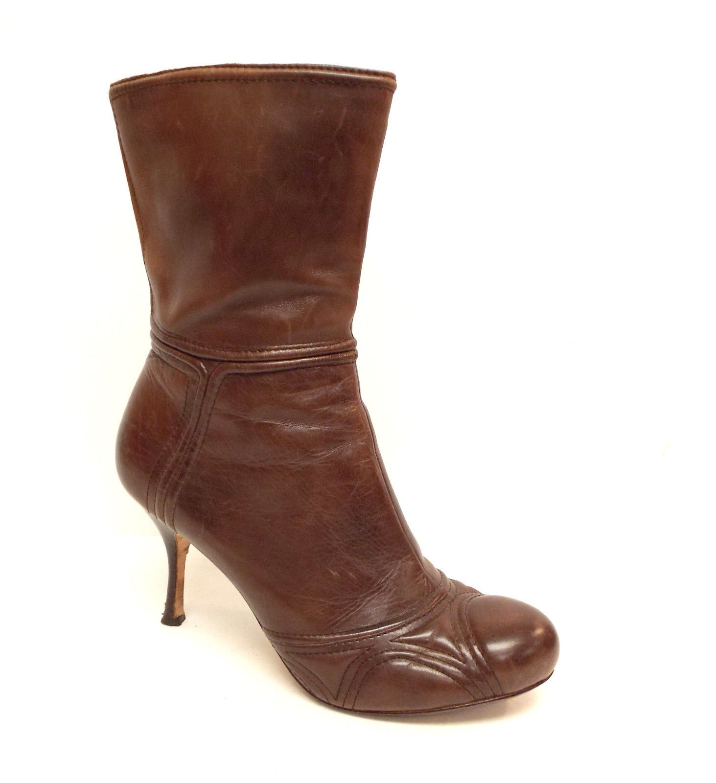 MAX STUDIO Size 8.5 Brown Leather Round Toe Ankle Boots 8 1/2