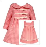 Girls Dress & Coat Set Coral Polka-dot Bonnie Jean Infant 12 Months