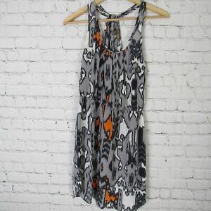 Charlie-Jade-Dress-Womens-Small-S-Grey-White-Orange-100-Silk